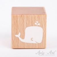 Holzwürfel mit Wal, whale weiße Farbe handbemalt