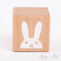 Holzwürfel mit Hasenmotiv Hase Bunny Miffy weiße Farbe handbemalt