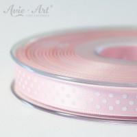 rosanes Satinband 10mm mit weißen Punkten