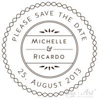 personalisierter Stempel save the date - Wellen