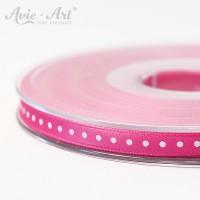 pinkfarbenes Satinband 6 mm mit weißen Punkten