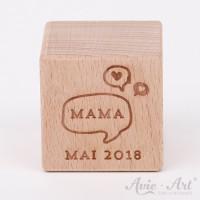 Holzwürfel mit Wunschtext - Erstes Wort