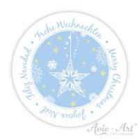 Weihnachtsaufkleber mit Stern in blau