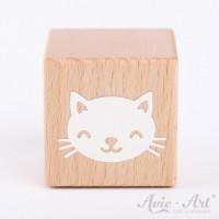 Holzwürfel mit Katzenbild, Katze, Cat weiße Farbe handbemalt