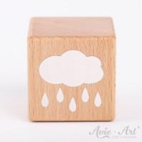 Holzwürfel mit einer Regenwolke weiße Farbe handbemalt