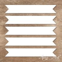 Naturpapier - Aufkleber Fähnchen 20 x 120 mm - weiß (1 Bogen)