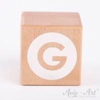Holzwürfel Buchstaben weiße Farbe G negativ