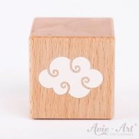 Holzwürfel mit Wolke weiße Farbe handbemalt