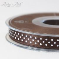 braunes Satinband 10mm mit weißen Punkten