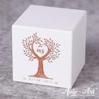weißer Holzwürfel Hochzeitsdatum - Gravur