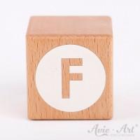 Holzwürfel Buchstaben weiße Farbe F negativ