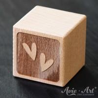 Holzwürfel Motiv graviert Herzminis