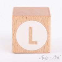 Holzwürfel Buchstaben weiße Farbe L negativ