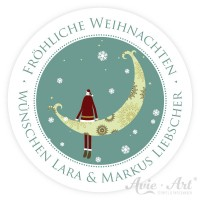 personalisierte Aufkleber Weihnachten Mond