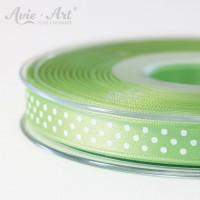 hellgrünes Satinband 10mm mit weißen Punkten