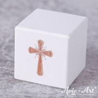 weißer Holzwürfel - Kreuz - Gravur