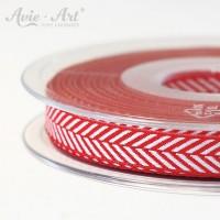 Dekoband mit Fischgräten - Muster rot