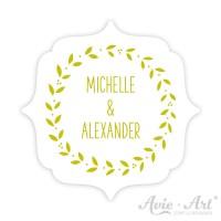 Hochzeitsaufkleber Namen Label - Ranke II