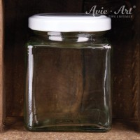 Marmeladenglas mit Deckel, eckig - 200 ml