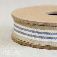 Webband Streifen - beige / weiß / blau