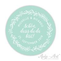 Hochzeitsaufkleber für Gastgeschenke - Serie Blütenkranz - mint