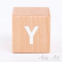 Holzwürfel Buchstaben weiße Farbe Y positiv