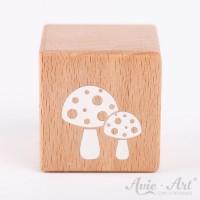 Holzwürfel mit kleinen Pilzen, Fliegenpilzen weiße Farbe handbemalt