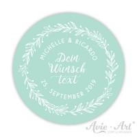 Hochzeitsaufkleber mit eigenem Text in der Mitte - mint