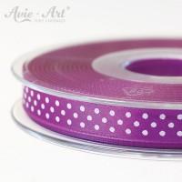 violettes Satinband 10mm mit weißen Punkten