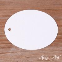 Papieranhänger oval weiß 45 x 60 mm mit glattem Rand