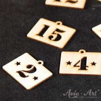 Rechteckige Kalenderzahlen aus Holz - 34 x 40 x 2 mm