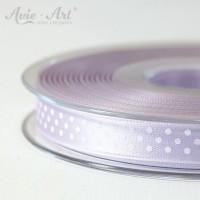 flieder Satinband 10mm mit weißen Punkten