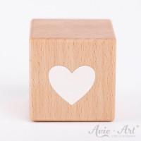 Holzwürfel mit Herzmotiv weiße Farbe handbemalt