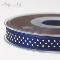 dunkelblaues Satinband 10mm mit weißen Punkten