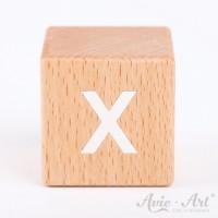 Holzwürfel Buchstaben weiße Farbe X positiv