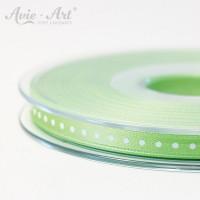 hellgrünes Satinband 6 mm mit weißen Punkten