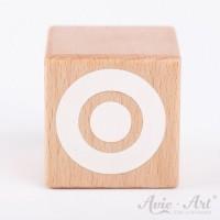 Holzwürfel Buchstaben weiße Farbe O negativ