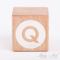 Holzwürfel Buchstaben weiße Farbe Q negativ