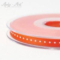 orangefarbenes Satinband 6 mm mit weißen Punkten