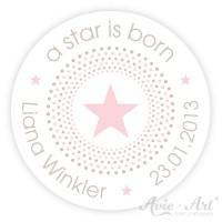 Aufkleber mit Wunschtext - a star is born