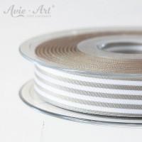 Schöne Satinbänder 16 mm mit Streifen - grau weiß