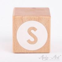 Holzwürfel Buchstaben weiße Farbe S negativ