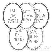 Aufkleber Liebesbotschaften für Duftkerzen - oval mit lustigem Text