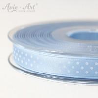hellblaues Satinband 10mm mit weißen Punkten