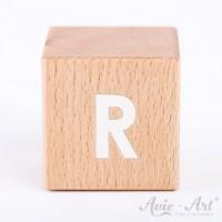 Holzwürfel Buchstaben weiße Farbe R positiv