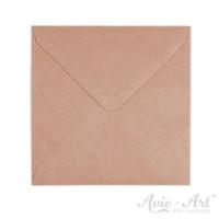 25 Briefumschläge Kraftpapier gerippt - quadratisch (130 x 130 mm)