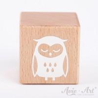 Holzwürfel mit Eule, owl weiße Farbe handbemalt