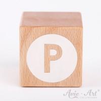 Holzwürfel Buchstaben weiße Farbe P negativ