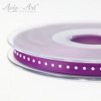 violettes Satinband 6 mm mit weißen Punkten