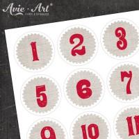 Adventskalender Zahlen Leinen #4
